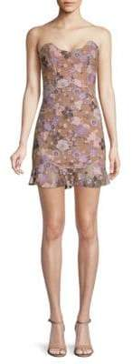 For Love & Lemons Posey Embroidered Mini Dress