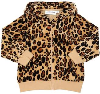 Mini Rodini Leopard Print Hooded Chenille Sweatshirt