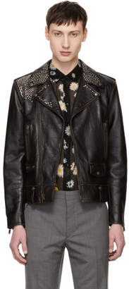 Saint Laurent Black Classic Moto Nail Studded Jacket