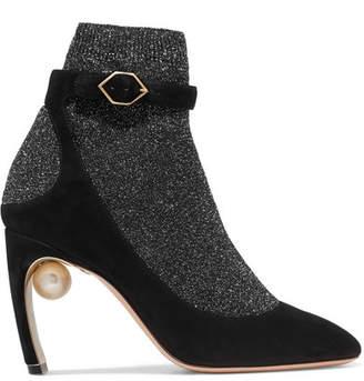 Nicholas Kirkwood Lola Embellished Metallic Stretch-knit And Suede Sock Boots - Black