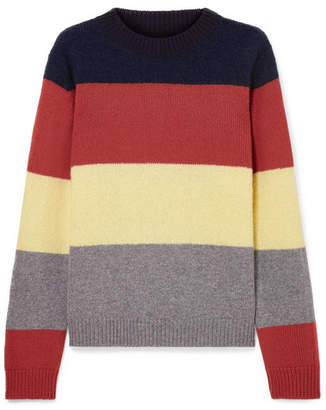 Chinti and Parker Sombrero Striped Alpaca And Wool-blend Sweater - Navy