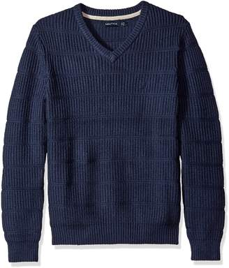 Nautica Men's V-Neck Sweater with Wool Like Feel