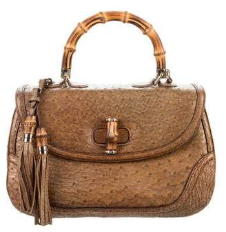 255418fba7dd Gucci Ostrich Large New Bamboo Top Handle Bag
