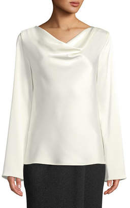 St. John Lightweight Liquid Satin Cowl-Neck Blouse with Bell-Shape Sleeves