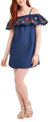 POOF-Slinky Juniors' Cold Shoulder Dress with Ruffle and Embroidery Detail