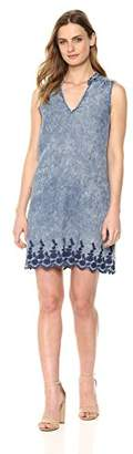 Michael Stars Women's Linen Denim Tencel Sleeveless Dress with Back Lace up