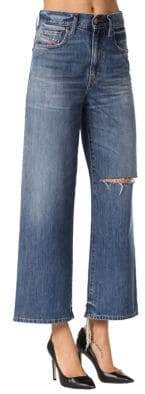 Diesel Distressed Wide Leg Jeans