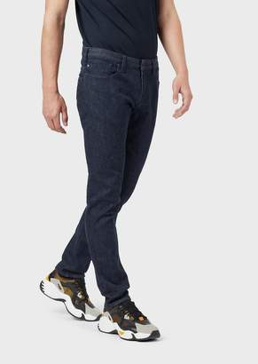 Emporio Armani Slim-Fit J06 Comfort Denim Jeans With Logo Patch