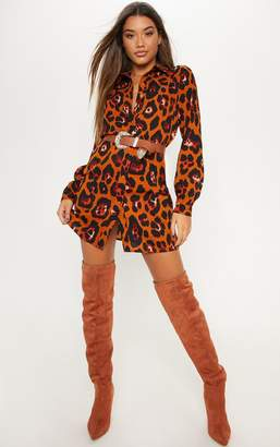 PrettyLittleThing Burnt Orange Leopard Printed Shirt Dress