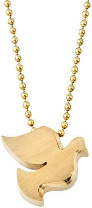 Alex Woo Little Big Activist 14k Yellow Gold Peace Dove Pendant Necklace