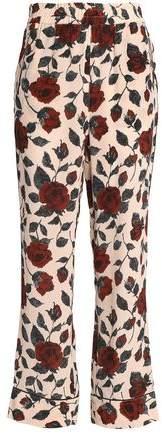 Floral-Print Silk Crepe De Chine Track Pants