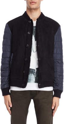 Armani Jeans Mixed Media Leather Bomber Jacket