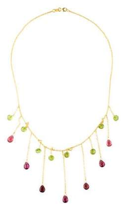 Farah Tanya 14K Peridot, Tourmaline & Garnet Collar Necklace