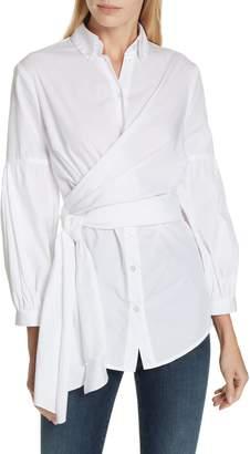 Diane von Furstenberg Sinclair Puff Sleeve Wrap Detail Shirt