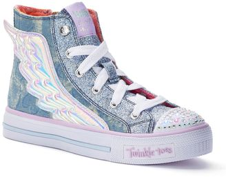Skechers Twinkle Toes Shuffles Flutter Up Girls' Light-Up High Top Shoes $59.99 thestylecure.com