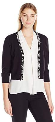 Ronni Nicole Women's 3/4 Sleeve Pearl Trim Shrug