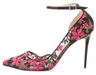 Jimmy Choo Lucy 100 Floral Embroidered Pumps