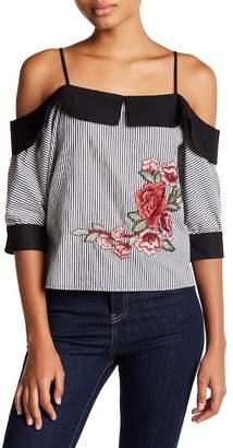 Romeo & Juliet Couture Cold Shoulder Spread Collar Floral Applique Blouse