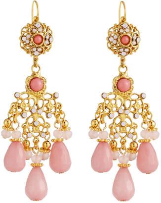 Jose & Maria Barrera Filigree Chandelier Earrings, Pink
