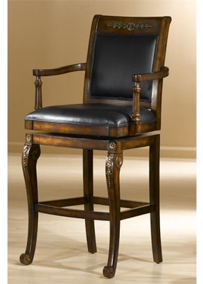 Hillsdale Furniture Douglas Wood Bar Stool, Distressed Cherry Finish with Gold Highlights