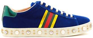 Gucci New Ace faux-pearl and crystal velvet trainers