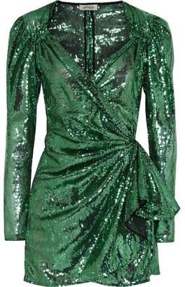 ATTICO Sequined Mesh Wrap Mini Dress - Green