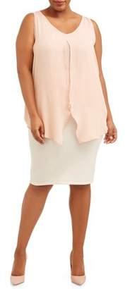 Miss Lili Women's Plus Size Tie Front Sleeveless Blouse