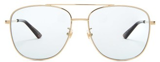 Gucci Aviator Square Frame Metal Sunglasses - Womens - Light Blue
