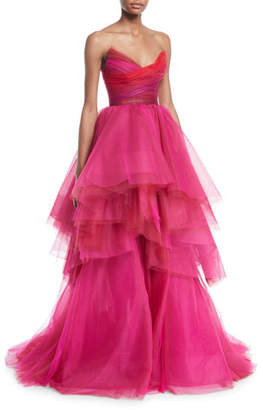 Monique Lhuillier Sweetheart Strapless Asymmetric Gown