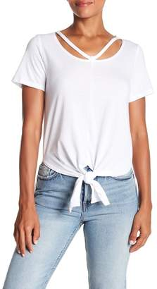 Lucky Brand Slit Neck Tie Front Tee