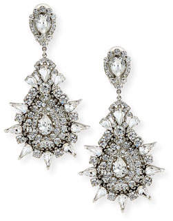 Jose & Maria Barrera Austrian Crystal Starbust Drop Earrings