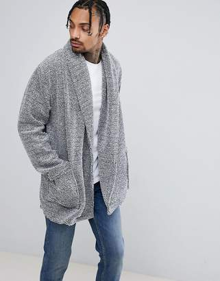 Asos Longline Cardigan In Fleece With Long Sleeves