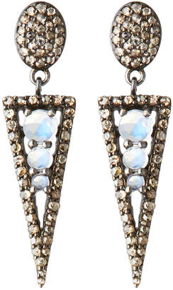 Bavna Silver Spike Drop Earrings with Diamonds & Rainbow Moonstone