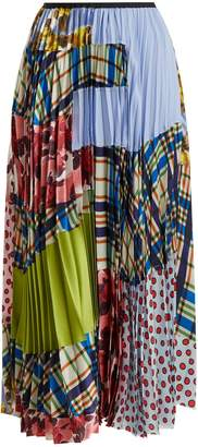 Marni Contrasting-print pleated silk-blend skirt