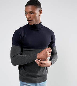 French Connection TALL Color Block Roll Neck Sweater