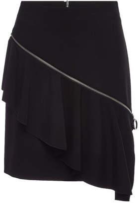 HUGO Rafela Ruffled Skirt with Asymmetric Zipper