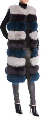 La Fiorentina 3-in-1 Long Fur Vest w/ Shawl