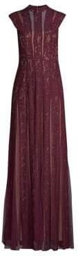 BCBGMAXAZRIA Lace Insert Tulle A-Line Dress