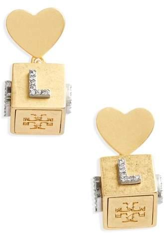 Tory Burch Love Message Cube Earrings