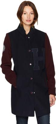 Tommy Hilfiger Women's Long Wool Blend Varsity Jacket with Patches, Navy, Extra Large
