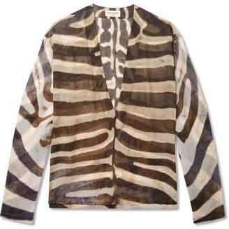 Saint Laurent Zebra-Print Silk Shirt