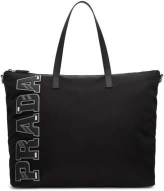 Prada Black Nylon Logo Tote