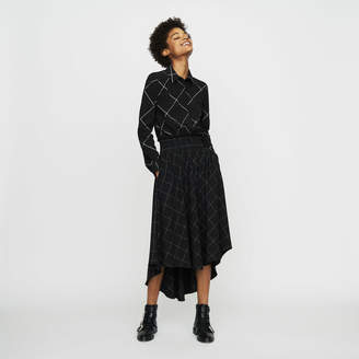 Maje Asymmetric plaid shirt dress