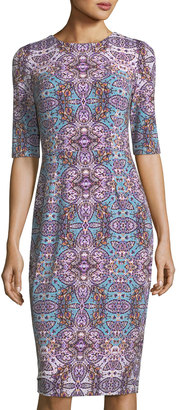 Maggy London Byzantine Short-Sleeve Jersey Sheath Midi Dress $99 thestylecure.com