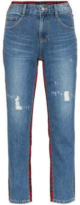 Sjyp Denim and Tartan Straight-Leg Jeans