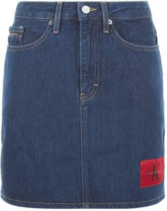 Calvin Klein Jeans Logo Patch Denim Mini Skirt