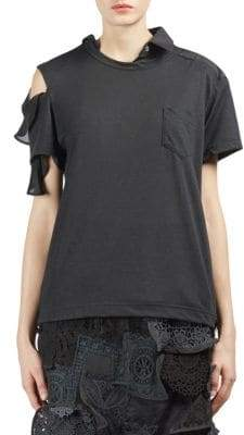 Sacai Asymmetrical Cold-Shoulder Tee