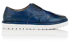 Marsèll Women's Distressed Leather Laceless Wingtip Oxfords-Blue