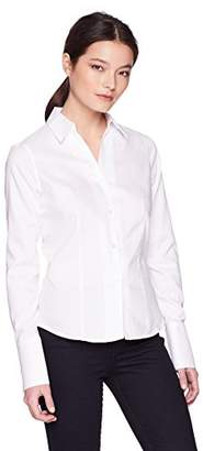 Calvin Klein Women's Petite Long Sleeve Wrinkle Free Button Down Top