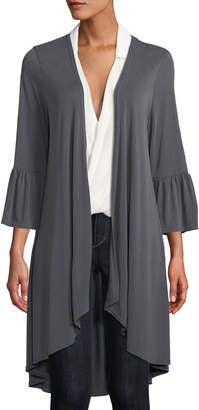Lumie Flare-Sleeve Jersey Duster Cardigan, Charcoal